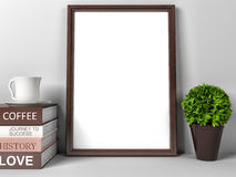 Vintage wood frame in interior and coffee books Royalty Free Stock Photo