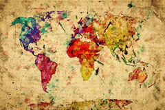 Vintage world map. Colorful paint Royalty Free Stock Photo