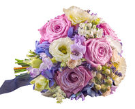 Vivid floral arrangement with mauve roses and Hydrangea Hortensis Stock Photography