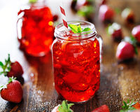 Vivid red strawberry cocktail in a jar Royalty Free Stock Photography