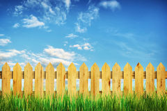 Vivid summer landscape with fence and green grass Stock Images