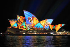 Vivid Sydney, Sydney Opera House with colourful butterfly imager Royalty Free Stock Photo