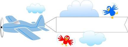 Vliegtuig met lege banner/eps Stock Foto