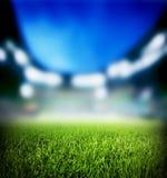 Voetbal, voetbalgelijke. Gras dichte omhooggaand op het stadion Royalty-vrije Stock Foto