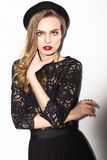 Vogue. Classy Fashion Model in Dark Lacy Blouse Royalty Free Stock Photos