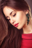 Vogue portrait of beautiful young woman hair style Stock Photo