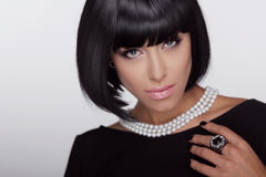 Vogue style. Fashion Haircut. Hairstyle.  Stock Photos