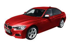 Voiture moderne rouge, BMW 3 (F30) Photographie stock