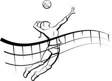 Volleyball Spike with Flowing Net Royalty Free Stock Image