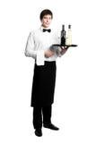 Waiter sommelier with bottles Stock Images