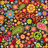 Wallpaper with hippie symbolic Stock Photos