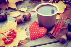 Warming coffee cup, red heart and autumn still life Royalty Free Stock Photos