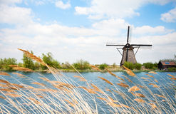 Water arrogation windmill view in Holland Stock Photography