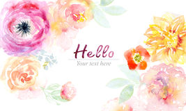 Watercolor card with beautiful flowers Royalty Free Stock Image