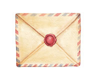 Watercolor envelope Stock Photography