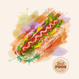 Watercolor Hamburger or Sandwich. Fast Food sketch Royalty Free Stock Images