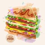 Watercolor Hamburger or Sandwich. Fast Food sketch Stock Photo