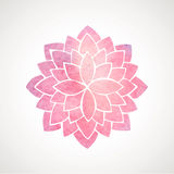 Watercolor pink flower pattern. Silhouette of lotus. Mandala Royalty Free Stock Image