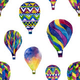 Watercolor seamless pattern with hot air balloon Royalty Free Stock Photos