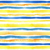 Watercolor strips seamless pattern border.Yellow Stock Images