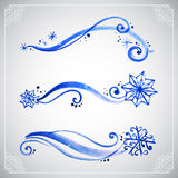Watercolor winter frost ornament Stock Photos