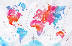 Watercolor world map pink blue Stock Photography
