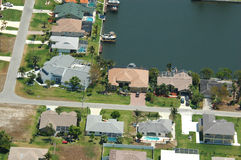 Waterfront property aerial Royalty Free Stock Image