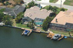 Waterfront property aerial Royalty Free Stock Images