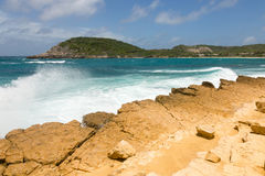 Waves Crashing on Rocky Limestone Coastline at Half Moon Bay Stock Photography