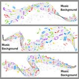 Wavy Music Notes Banner Stock Images