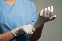 Wearing Medical Gloves Royalty Free Stock Photo