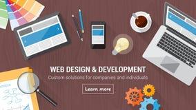 Webdesignkonzeptschreibtisch Lizenzfreies Stockbild