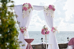 Wedding arch of different flowers Royalty Free Stock Photo