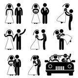 Wedding Bride Bridegroom Marriage Pictogram Royalty Free Stock Photography