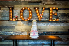 Wedding Cake with Love Stock Image