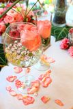Wedding decor table setting and flowers Royalty Free Stock Photography