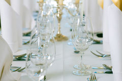 Wedding - feastfully decorated table Stock Photo