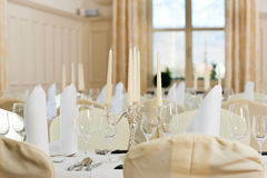 Wedding - feastfully decorated table Stock Photos
