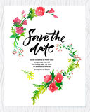 Wedding floral watercolor card Save the date. Royalty Free Stock Image
