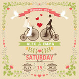 Wedding invitation with Bride,groom,retro bicycle,floral frame Stock Image