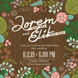Wedding invitation card with cute and colorful foliage backgroun Royalty Free Stock Images