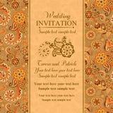 Wedding invitation in east turkish style, orange Royalty Free Stock Images