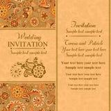 Wedding invitation in east turkish style, orange Royalty Free Stock Photos