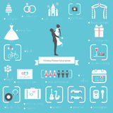 Wedding Planner Icons and Infographics Set Stock Photos