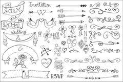 Wedding ribbons, swirl borders,decor set.Doodle Royalty Free Stock Photos