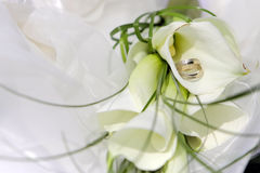 Wedding rings with flowers Royalty Free Stock Photography