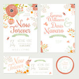 Wedding romantic floral Save the Date invitations Stock Photos