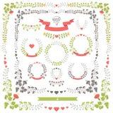 Wedding set retro floral items.Vector Design template Stock Photos