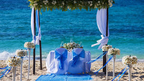 Wedding table on the beach Royalty Free Stock Photo