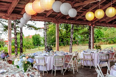 Wedding tables decorated in vintage style Royalty Free Stock Images